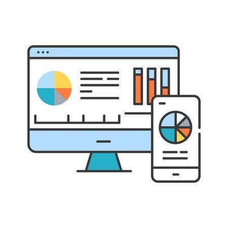Mobile business intelligence BI color line icon. System comprising both technical and organizational elements. Pictogram for web page, mobile app, promo. UI UX GUI design element. Editable stroke Vektoros illusztráció