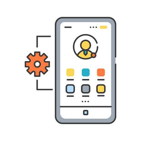 Farbliniensymbol für die Verwaltung von mobilen Anwendungen. Beschreibt Software und Dienste, die für die Bereitstellung des Zugriffs auf intern entwickelte mobile Apps verantwortlich sind. Piktogramm für Webseite, mobile App, Promo. UI UX GUI-Designelement. Bearbeitbarer Strich.