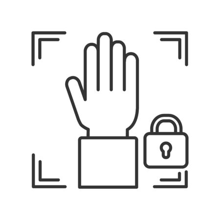 Palm print scan black line icon private protection or locked line color icon. Blocked user account, private, safe or secure data, access denied. Biometric identification Foto de archivo