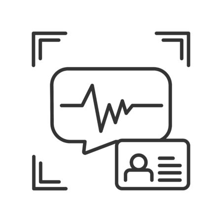 Voice identification black line icon. Recognition system of person. Concept of: authorization, dna system, scientific technology, scanning. Biometric identification Ilustración de vector