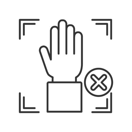 Palm print cancelled black line icon. Access denied for user concept. Error, fraud. Concept of: authorization, dna system, scientific technology, scanning. Biometric identification element
