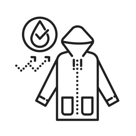 Waterproof cloth black line icon. Water repellent outerwear concept. Impermeable textile, fabric sign. Pictogram for web page, mobile app, promo. UI UX GUI design element