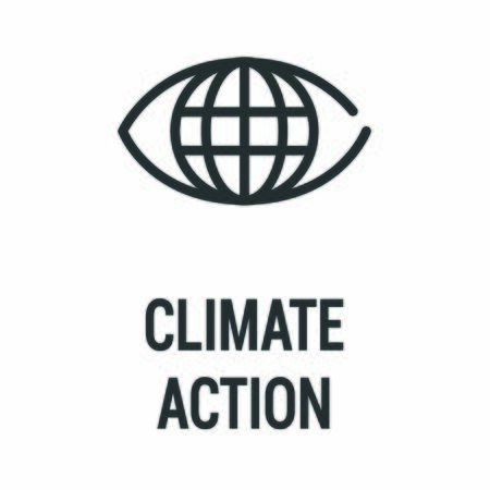 Climate action black icon. Corporate social responsibility. Sustainable Development Goals. SDG sign. Pictogram for ad, web, mobile app. UI UX design element.