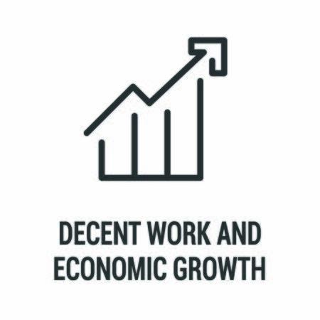 Decent work and economic growth black icon. Corporate social responsibility. Sustainable Development Goals. SDG sign. Pictogram for ad, web, mobile app. UI UX design element.