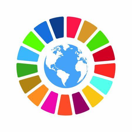 Vektorelement für soziale Verantwortung des Unternehmens. Ziele für nachhaltige Entwicklung - Vektorillustration der Vereinten Nationen. SDG-Farbsymbol. Piktogramm für Anzeige, Web, mobile App, Promo. UI-UX-Design