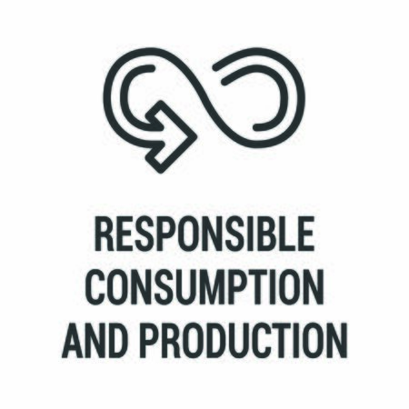 Responsible consumption and production black icon. Corporate social responsibility. Sustainable Development Goals. SDG color sign Reduce the negative impact on the environment, and on human health
