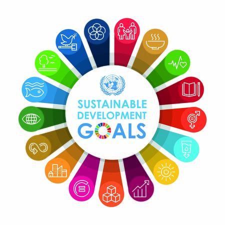 Corporate social responsibility sign. Sustainable Development Goals illustration. SDG signs. Pictogram for ad, web, mobile app, promo. Vector illustration element  イラスト・ベクター素材