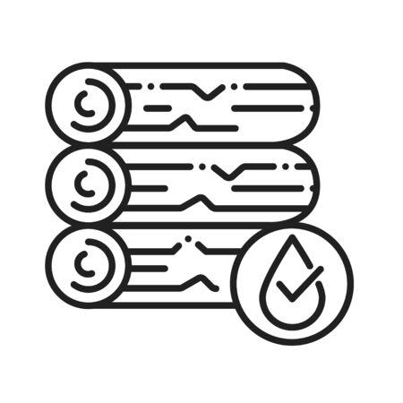 Waterproof wood black line icon. Water repellent coating concept. Impermeable construction material sign. Pictogram for web page, mobile app, promo. UI UX GUI design element