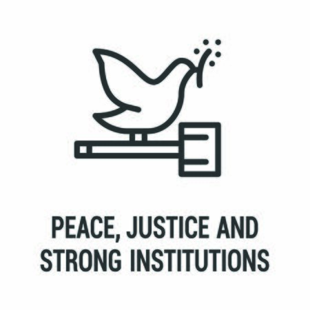 Peace, justice and strong institutions black icon. Corporate social responsibility. Sustainable Development Goals. SDG sign. Pictogram for ad, web, mobile app. UI UX design element. Illustration