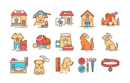 Pet care color line icons set. Providing great services for pets. Improving their life. Pictogram for web page, mobile app, promo. UI UX GUI design element. 일러스트