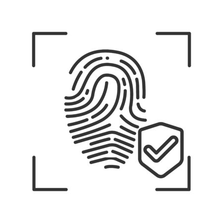Fingerprint scan provides security access black line icon. Protection and verifying person. Concept of: authorization, dna system, scientific technology, scanning Ilustración de vector