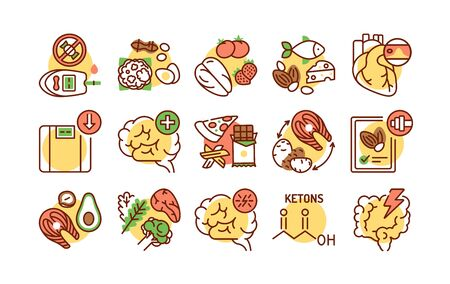 Ketogenic diet color line icons set. Very low-carb, high-fat diet. Reducing carbohydrate intake and replacing it with fat. Pictogram for web page, mobile app, promo. UI UX GUI design element. Editable stroke. Vettoriali