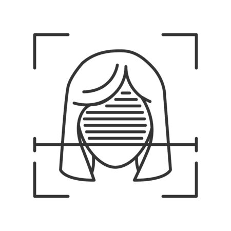 Identification face black line icon. ID and verifying person concept. Biometric security element. Deep face. Scanning technology. Sign for web page, mobile app, banner, social media. Editable stroke