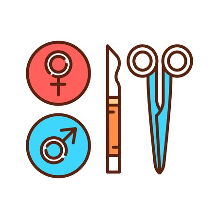 Sterilization color line icon. Birth control. Pictogram for web page, mobile app, promo. UI UX GUI design element. Editable stroke