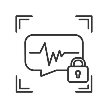 Voice identification scan private protection or locked black line icon. Recognition system of person. Blocked user account, private, safe or secure data, access denied. Biometric identification element.
