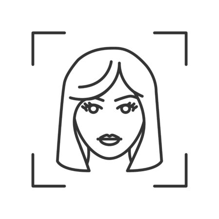 Identification face black line icon. ID and verifying. Authorization person. Biometric security element. Deep face. Scanning technology. Sign for web page, mobile app, banner. Ilustración de vector