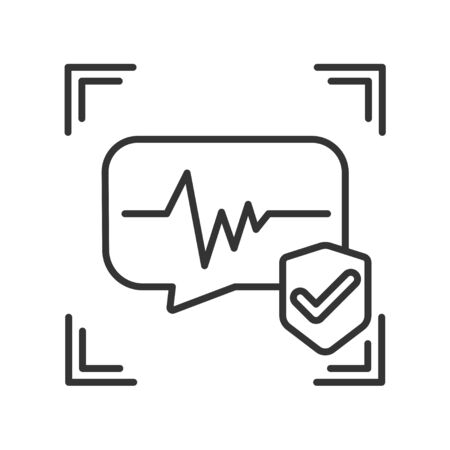 Voice identification approved black line icon. Recognition system of person. Concept of: authorization, dna system, scientific technology, scanning.