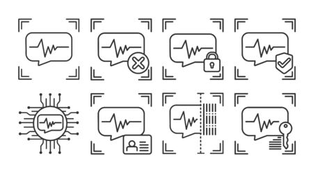 Voice identification scan black line icons set. Concept of: verifying person, blocked user, security, approved, ai, id, scanning, unlock access. Biometric identification elements