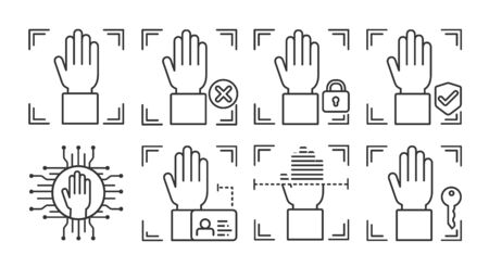 Palm print scan black line icons set. Concept of: verifying person, blocked user, security, approved, ai, id, scanning, unlock access. Biometric identification. Signs for web page mobile app