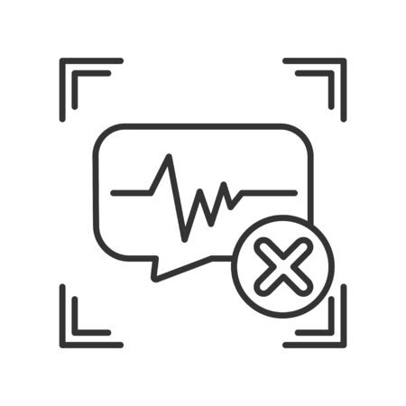 Voice identification cancelled black line icon. Access denied for user concept. Error, fraud. Concept of: authorization, dna system, scientific technology, scanning. Biometric identification element