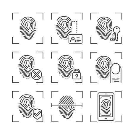 Fingerprint scan provides security access black line icons set. ID and verifying person. Concept of: authorization, dna system, scientific technology, scanning. Biometric identification element