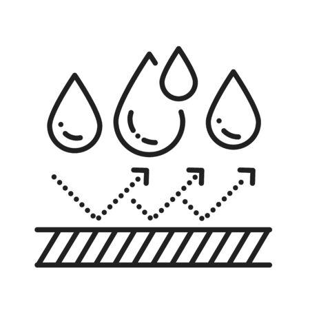 Waterproof black line icon. Water repellent technology concept. Pictogram for web page, mobile app, promo. UI UX GUI design element
