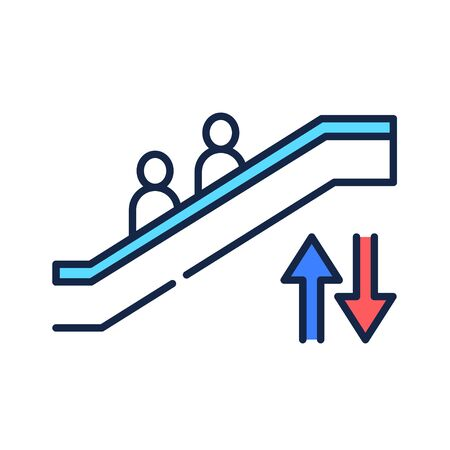 Escalator color line icon. Moving staircase which carries people between floors of a building. Pictogram for web page, mobile app, promo. UI UX GUI design element.