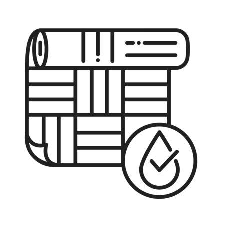 Waterproof linoleum black line icon. Water repellent material concept. Impermeable floor covering sign. Pictogram for web page, mobile app, promo. UI UX GUI design element Ilustração