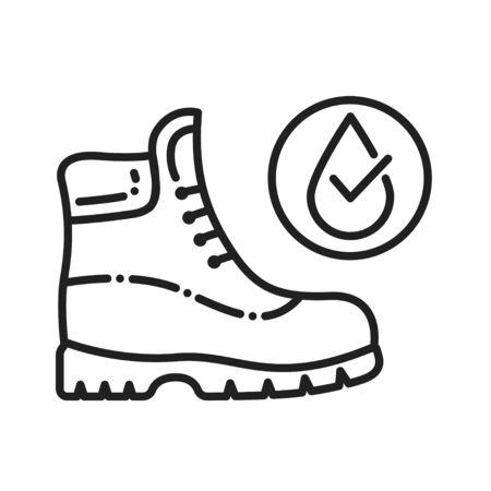 Waterproof shoes black line icon. Water repellent footwear concept. Pictogram for web page, mobile app, promo. UI UX GUI design element Ilustração