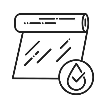 Transparent waterproof film black line icon. Water repellent coating material concept. Pictogram for web page, mobile app, promo. UI UX GUI design element Ilustração