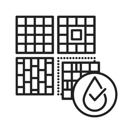 Waterproof wall and floor tile black line icon. Water repellent coating concept. Impermeable material sign. Pictogram for web page, mobile app, promo. UI UX GUI design element