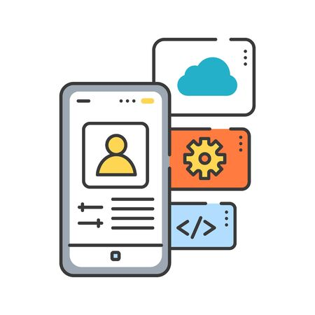 Application functions color line icon. Actions which can be done due to the application. Pictogram for web page, mobile app, promo. UI UX GUI design element. Editable stroke