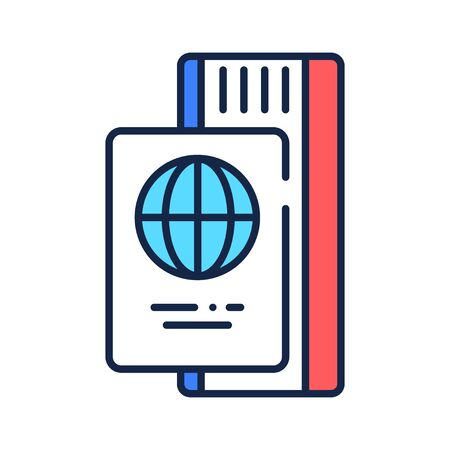 Passport with ticket color line icon. Travel document with a boarding pass. Pictogram for web page, mobile app, promo. UI UX GUI design element.