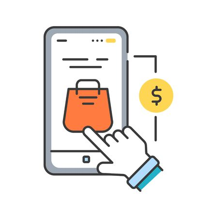 App purchase color line icon. Refers to the buying of goods and services from inside an application on a mobile device. Pictogram for web page, mobile app, promo. UI UX GUI design element. Editable stroke.