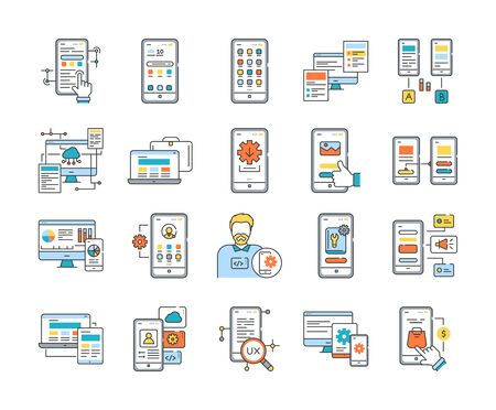 App purchase color line icons set. Creation and programming of applications. UI UX GUI design element. Editable stroke