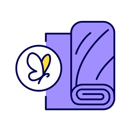Silk fabric color line icon. Natural fiber produced from the cocoons of mulberry silkworm. Pictogram for web page, mobile app, promo. UI UX GUI design element. Illustration