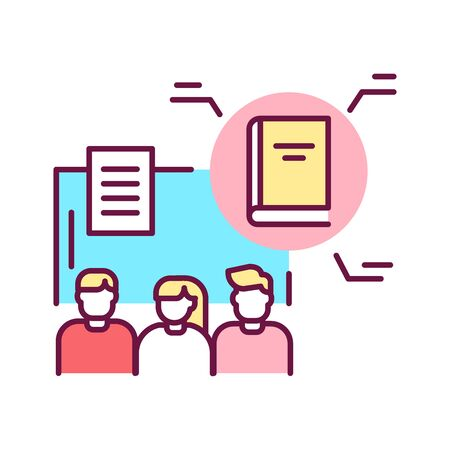 Training programs color line icon. Educational program tailored specifically for a particular group of people with a speaker. Pictogram for web page, mobile app, promo. UI UX GUI design element. Editable stroke. Stock Vector - 139989033