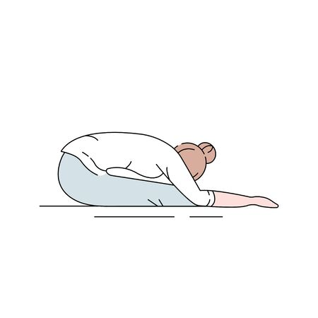 Paschimottanasana color line icon. Bending forward to touch their knees with their hands. Pictogram for web page, mobile app, promo. UI UX GUI design element. Editable stroke Illustration