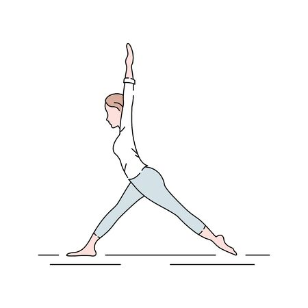 Yoga color line icon. Group of physical, mental, and spiritual practices or disciplines which originated in ancient India. Pictogram for web page, mobile app, promo. UI UX GUI design element. Editable stroke. Illustration