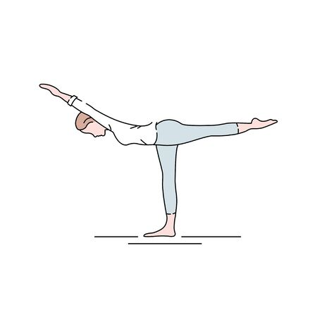 Warrior I Pose Virabhadrasana I color line icon. Concept of creating stillness by balancing simultaneous movements in different directions. Pictogram for web page, mobile app, promo. UI UX GUI design element. Editable stroke. Иллюстрация