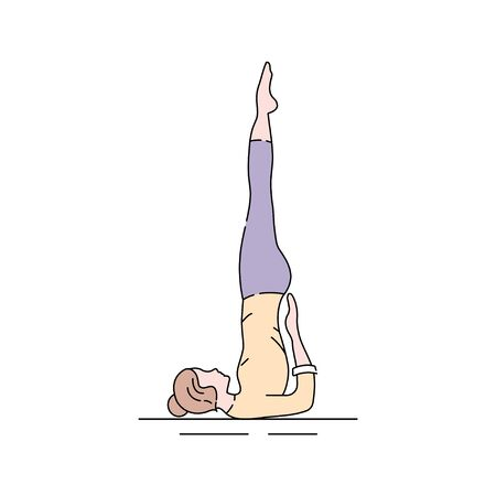 Sarvangasana color line icon. Shoulderstand is entered from a supine position with the knees bent. Pictogram for web page, mobile app, promo. UI UX GUI design element. Editable stroke Illustration