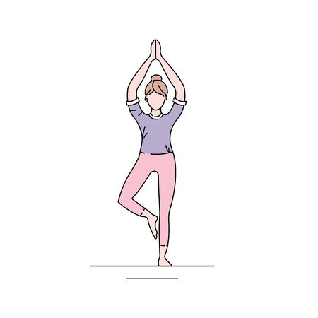 Tree Pose Vrikshasana color line icon. Balancing asana. Entire sole of the foot remains in contact with the floor. Pictogram for web page, mobile app, promo. UI UX GUI design element. Editable stroke.