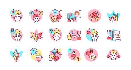 Conjunto de iconos de línea de color de autocontrol. Capacidad para regular las propias emociones, pensamientos y comportamiento frente a las tentaciones Pictograma para página web, aplicación móvil, promoción. Trazo editable