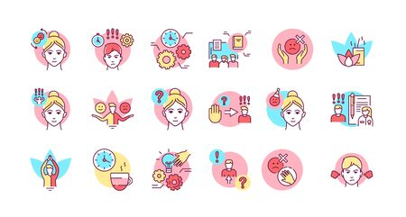 Self control color line icons set. Ability to regulate one's emotions, thoughts, and behavior in the face of temptations Pictogram for web page, mobile app, promo. Editable stroke Ilustracja