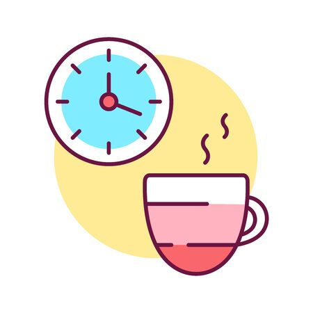 Take a break color line icon. To have a short rest period in ones work or studies, other activities. Pictogram for web page, mobile app, promo. UI UX GUI design element. Editable stroke. Illustration
