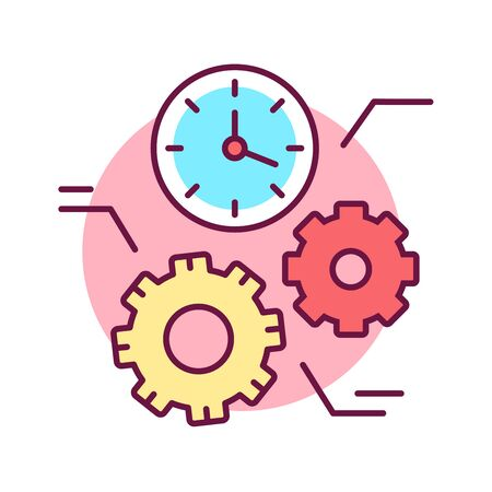 Time management color line icon. Process of planning and exercising conscious control of time spent on specific activities. Pictogram for web page, mobile app, promo. Editable stroke.