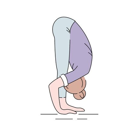 Uttanasana color line icon. Bending forward at the hips until the palms can be placed on the floor, ultimately behind the heels. Pictogram for web page, mobile app, promo. UI UX GUI design element. Editable stroke. Illustration
