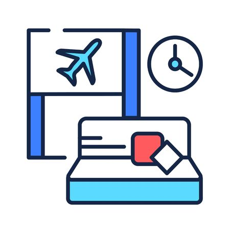 Waiting room color line icon. A special room in the airport, where people wait for their flight. Pictogram for web page, mobile app, promo. UI UX GUI design element.