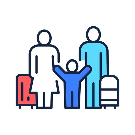 Family travel. Father mother and kid with luggage at the airport. Pictogram for web page, mobile app, promo. UI UX GUI design element. Editable stroke