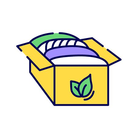 Organic fabrics color line icon. Textile that grown without the use of any chemical pesticides. Pictogram for web page, mobile app, promo. UI UX GUI design element.